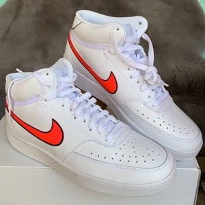 Nike Court Vision Lo Shoes White Pink Leather WMNS